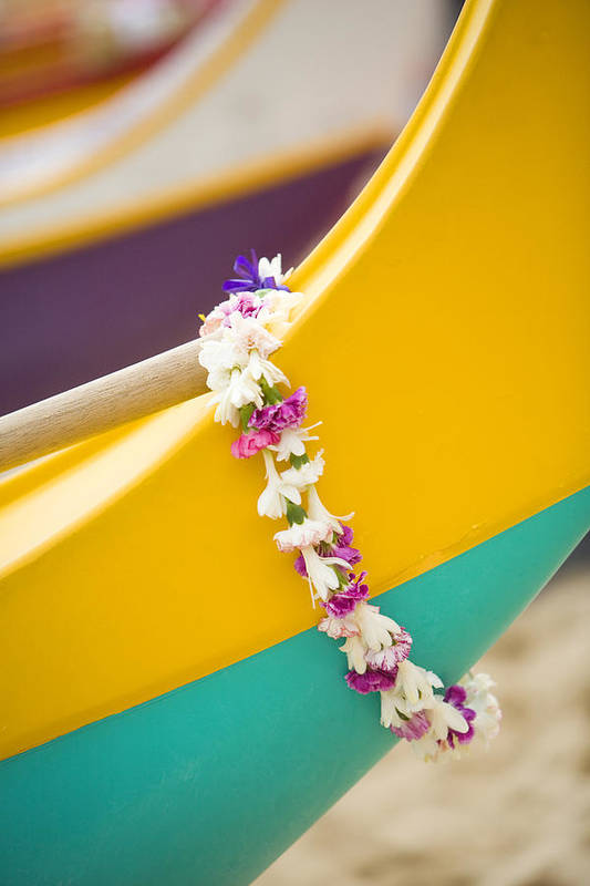 Akau Print featuring the photograph Lei Draped Over Outrigger by Dana Edmunds - Printscapes