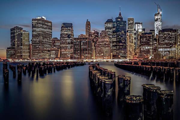America Print featuring the photograph Lower Manhattan Skyline by Eduard Moldoveanu