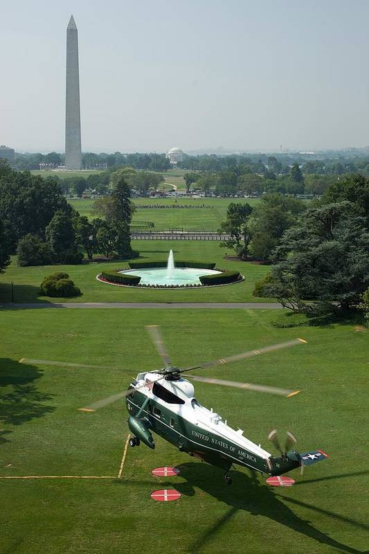 History Print featuring the photograph Marine One Lifts Off From The South by Everett