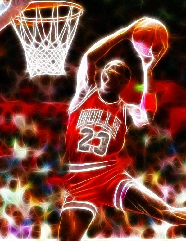 Mj Print featuring the digital art Michael Jordan Magical Dunk by Paul Van Scott