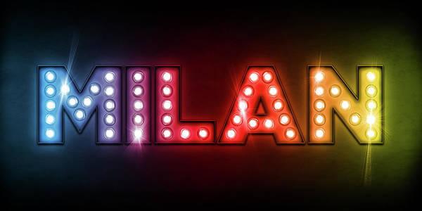 Milan Print featuring the digital art Milan In Lights by Michael Tompsett