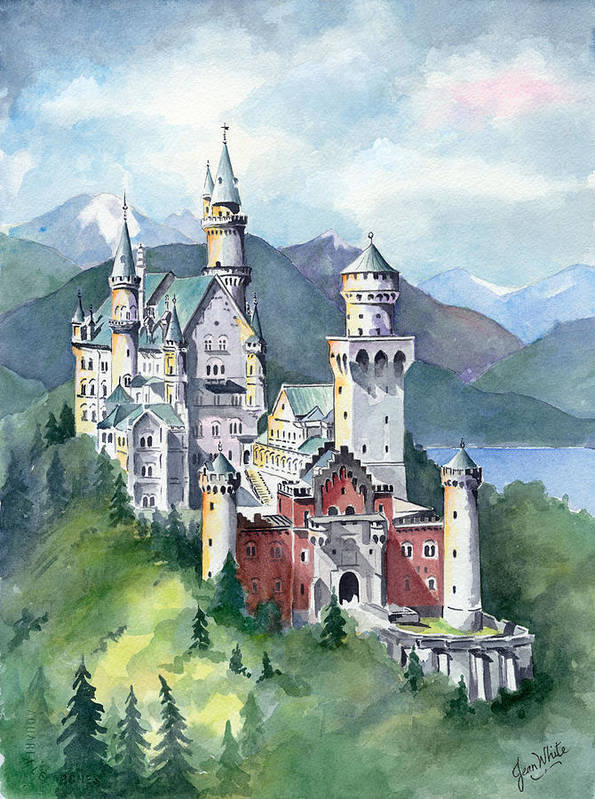Europe Print featuring the painting Neuschwanstein by Jean White