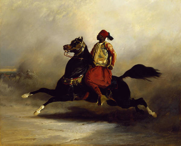 Nubian Print featuring the painting Nubian Horseman At The Gallop by Alfred Dedreux or de Dreux