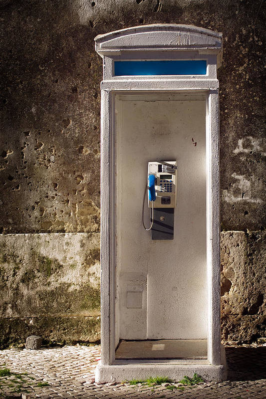 Ancient Print featuring the photograph Old Phonebooth by Carlos Caetano