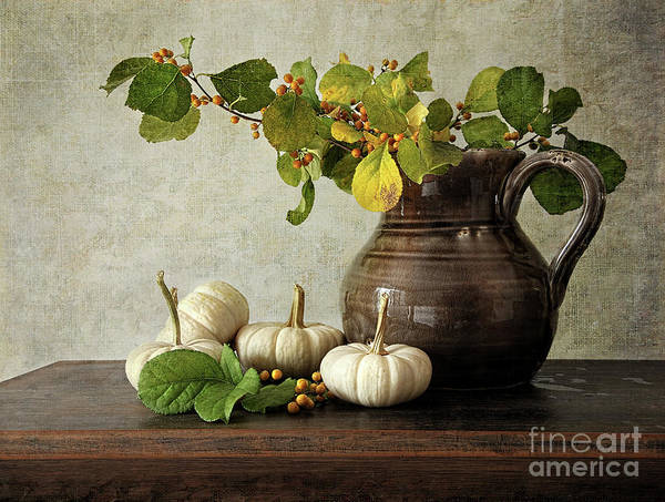 Autumn Print featuring the photograph Old Pitcher With Gourds by Sandra Cunningham