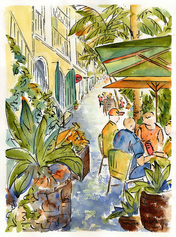 Palm Passage Print featuring the painting Palm Passage by Pat Katz