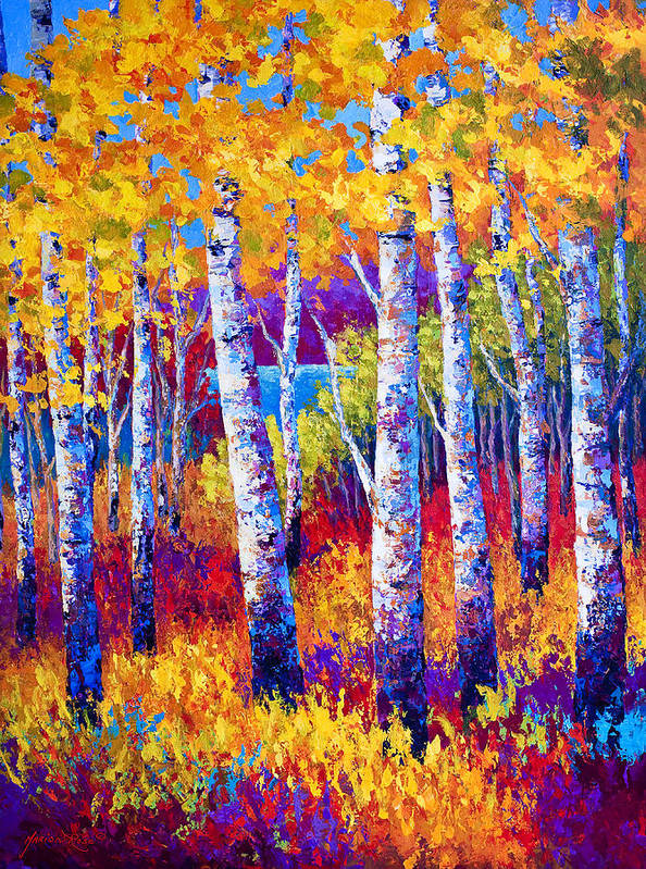 Birch Print featuring the painting Path To The Lake by Marion Rose