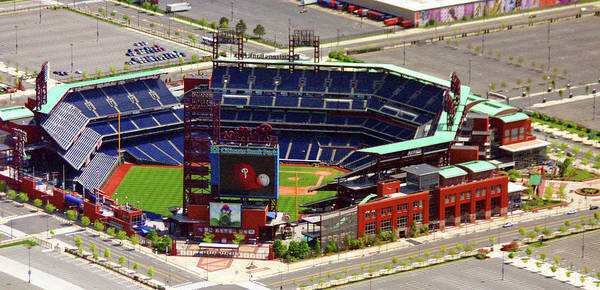 Aerial Photograph Print featuring the photograph Phillies Citizens Bank Park Philadelphia by Duncan Pearson