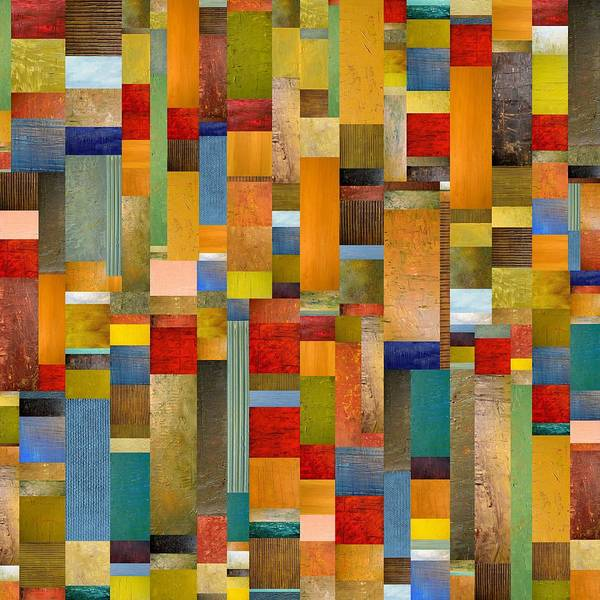 Multicolored Print featuring the painting Pieces Parts by Michelle Calkins