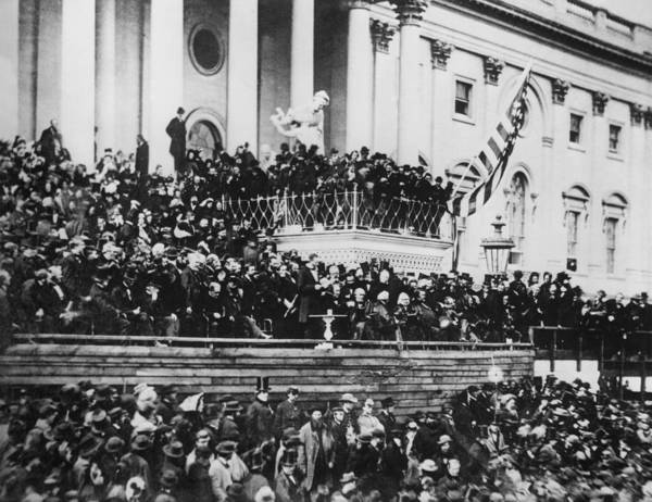 abraham Lincoln Print featuring the photograph President Lincoln Gives His Second Inaugural Address - March 4 1865 by International Images