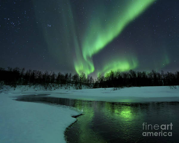 Green Print featuring the photograph Reflected Aurora Over A Frozen Laksa by Arild Heitmann