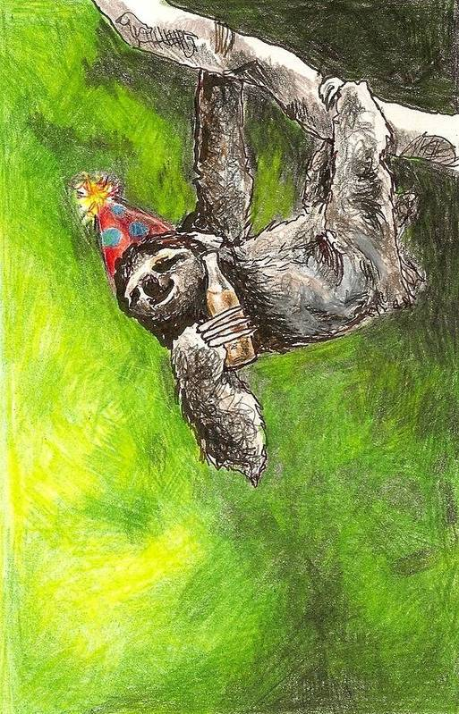 Kristen Bell Print featuring the drawing Sloth Birthday Party by Steve Asbell