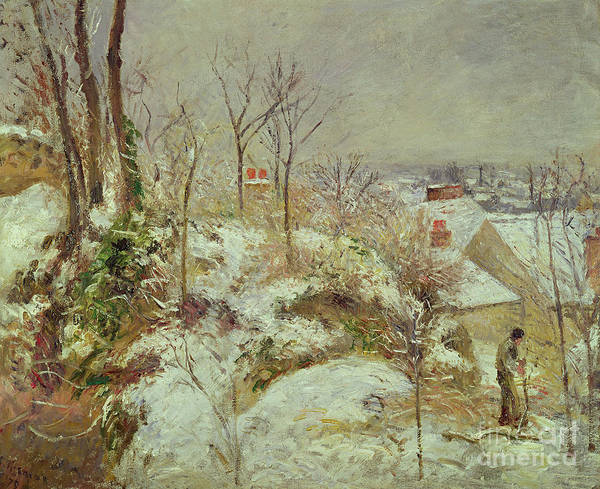 Snow Print featuring the painting Snow Scene by Camille Pissarro