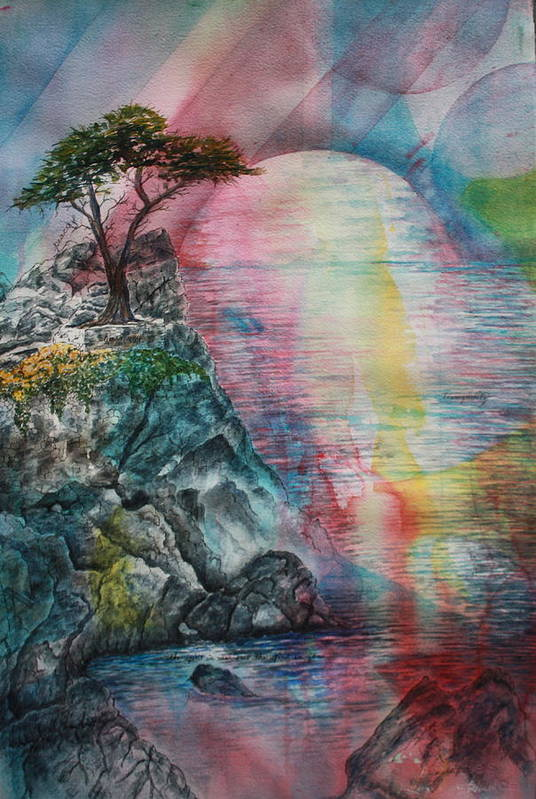Spiritual Landscape Representing Two Souls Connected Print featuring the painting Soulmates by Patsy Sharpe