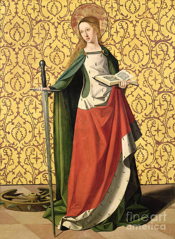 Catherine Print featuring the painting St. Catherine Of Alexandria by Josse Lieferinxe