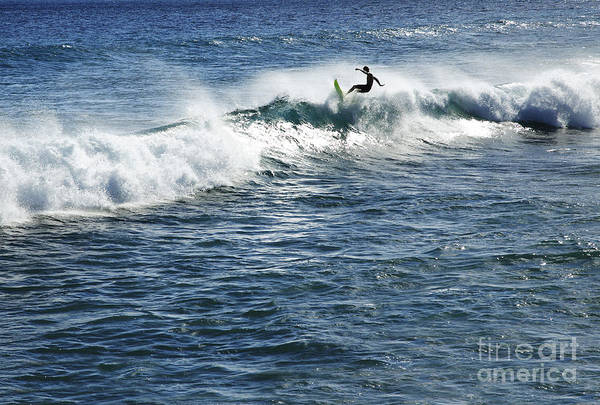 Adrenaline Print featuring the photograph Surfer Riding A Wave by Brandon Tabiolo - Printscapes