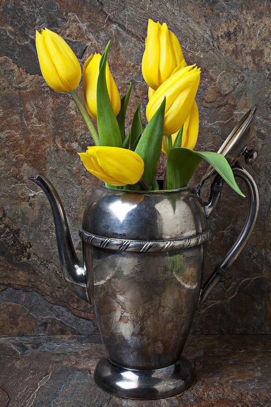 Tea Pot Print featuring the photograph Tea Pot And Tulips by Garry Gay