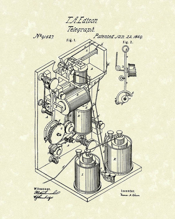 Edison Print featuring the drawing Telegraph 1869 Patent Art by Prior Art Design
