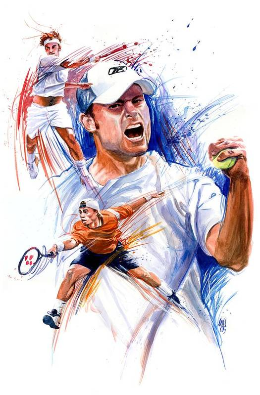 Tennis Players Print featuring the painting Tennis Snapshot by Ken Meyer jr