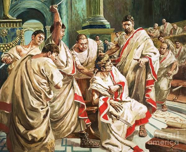 Julius Caesar; Rome; Senate; Senators; Assassination; Murder; Knife; Ides Of March Print featuring the painting The Death Of Julius Caesar by C L Doughty