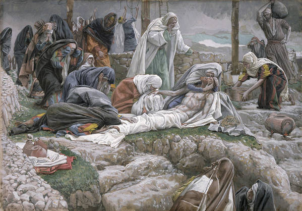 The Print featuring the painting The Holy Virgin Receives The Body Of Jesus by Tissot