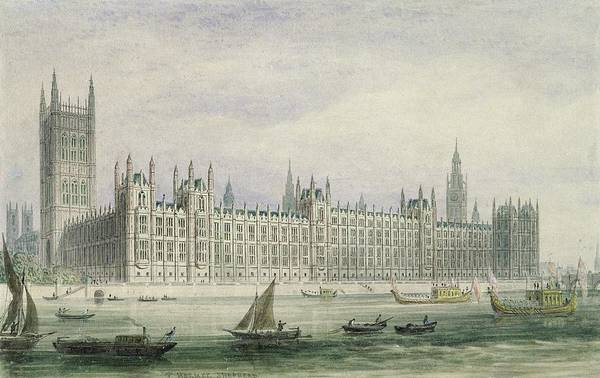 Xyc228384 Print featuring the photograph The Houses Of Parliament by Thomas Hosmer Shepherd
