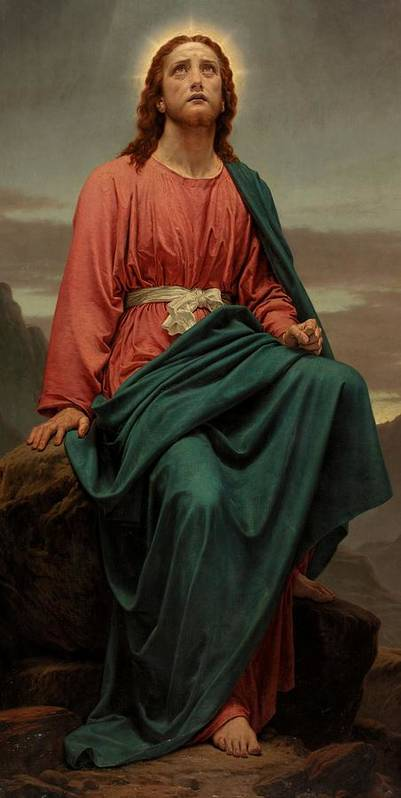 Jesus Christ; New Testament; Biblical Scene; Halo; Desert; Seated; Full Length; Temptation Print featuring the painting The Man Of Sorrows by Sir Joseph Noel Paton