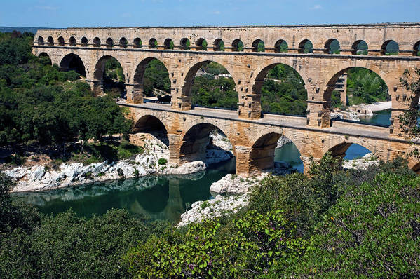 Ancient Print featuring the photograph The Pont Du Gard by Sami Sarkis