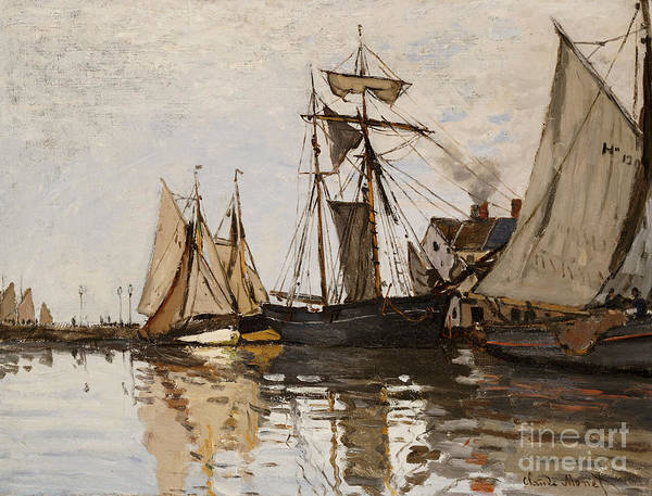 Claude Monet Print featuring the painting The Port Of Honfleur by Claude Monet