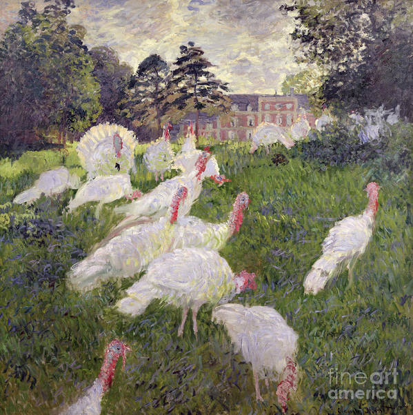 The Turkeys At The Chateau De Rottembourg Print featuring the painting The Turkeys At The Chateau De Rottembourg by Claude Monet