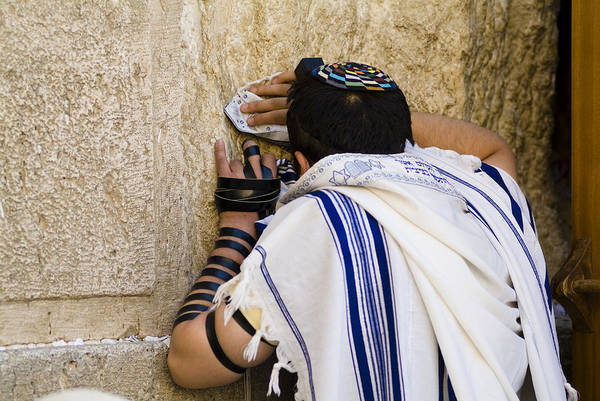 Jerusalem Print featuring the photograph The Western Wall, Jewish Man Wearing by Richard Nowitz