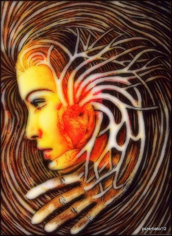 Symbol Of Venus Print featuring the digital art The Woman Thinks With The Heart by Paulo Zerbato