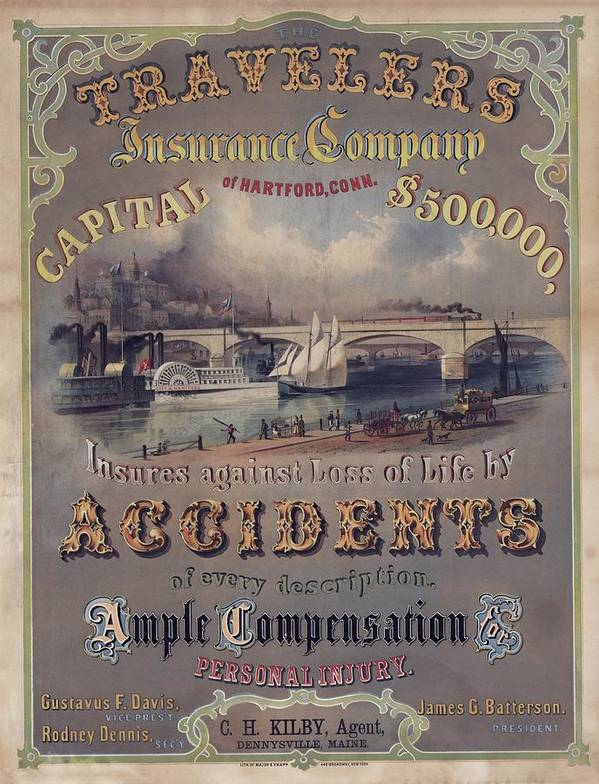 History Print featuring the photograph Travelers Insurance Company Advertising by Everett