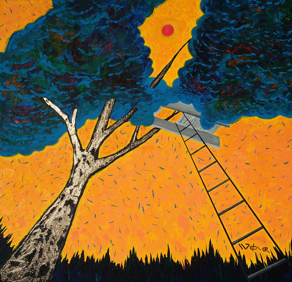 Treehouse Print featuring the painting Treehouse by Randall Weidner