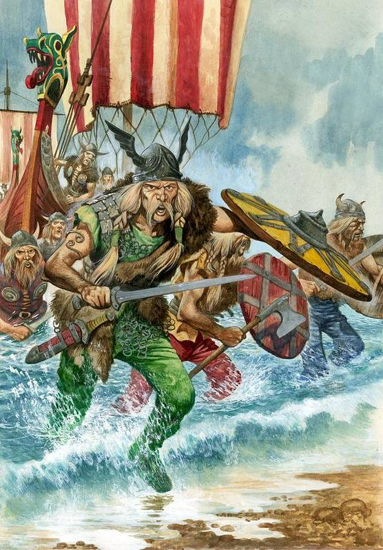 Vikings; Arriving; Landing; Ship; Boat; Sea; Charge; Headgear; Sailing; Sword; Moustache; Viking; Norse Print featuring the painting Vikings by Pete Jackson