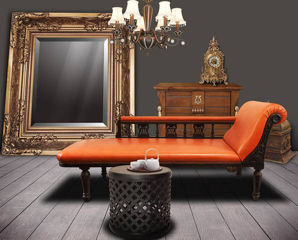 Apartment Print featuring the mixed media Vintage Furnitures by Atiketta Sangasaeng