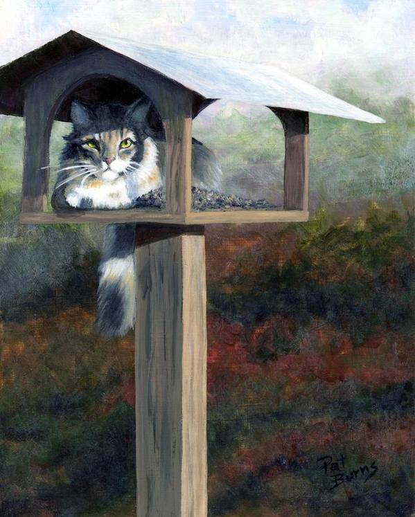 Cat Print featuring the painting Waiting For Dinner by Pat Burns