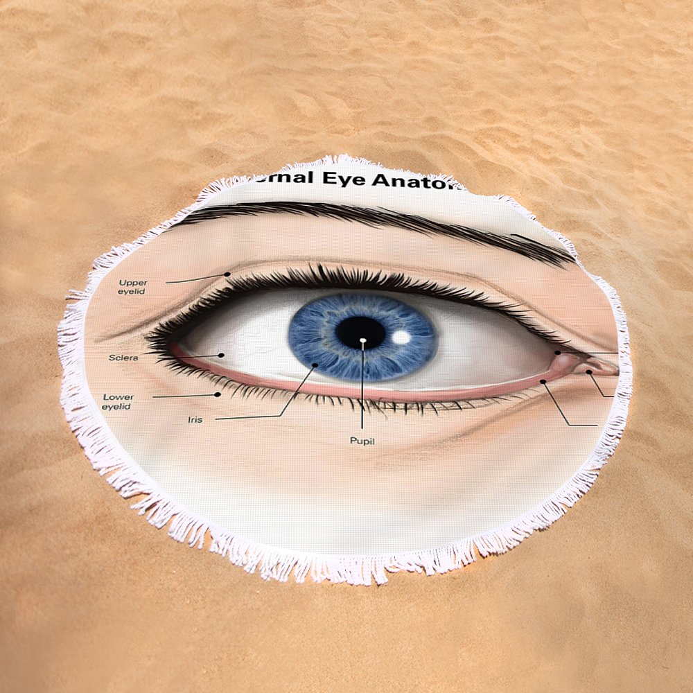External Anatomy Of The Human Eye Round Beach Towel For Sale By Alan