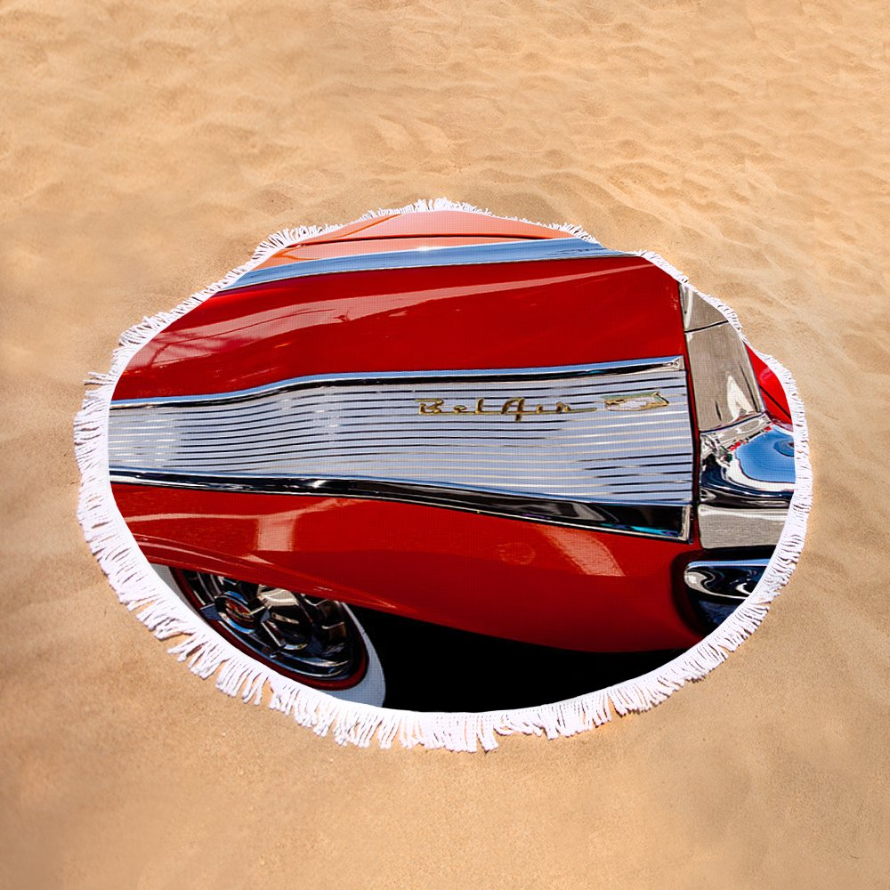 1957 Chevy Bel Air Custom Hot Rod Round Beach Towel For Sale By Chevrolet Sand View