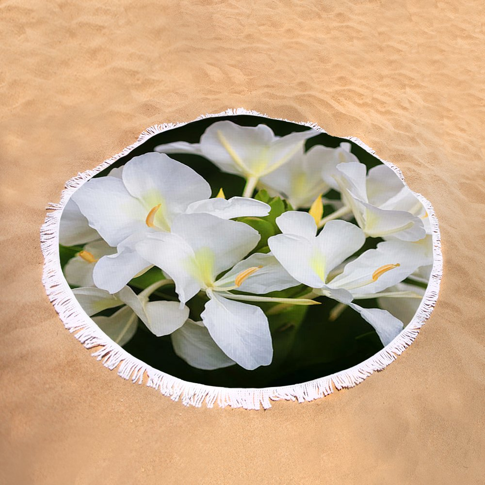 White Ginger Flowers H Coronarium Painted Round Beach Towel For Sale