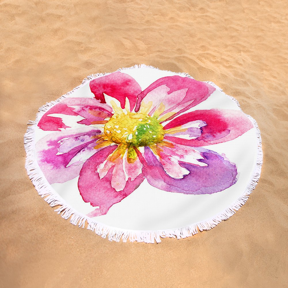 Beautiful Pink Flower Round Beach Towel For Sale By Regina Jershova