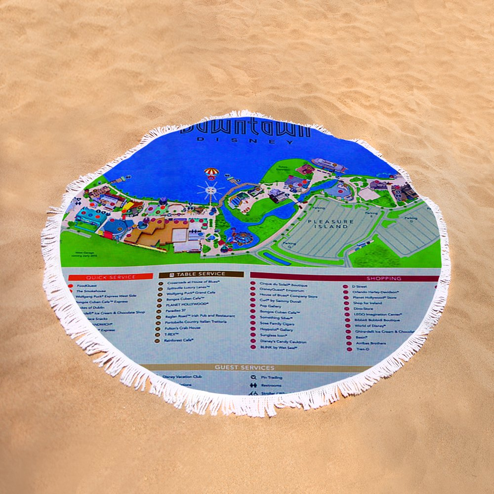 Downtown Disney Florida Map.Downtown Disney Florida Map Classic Round Beach Towel For Sale By