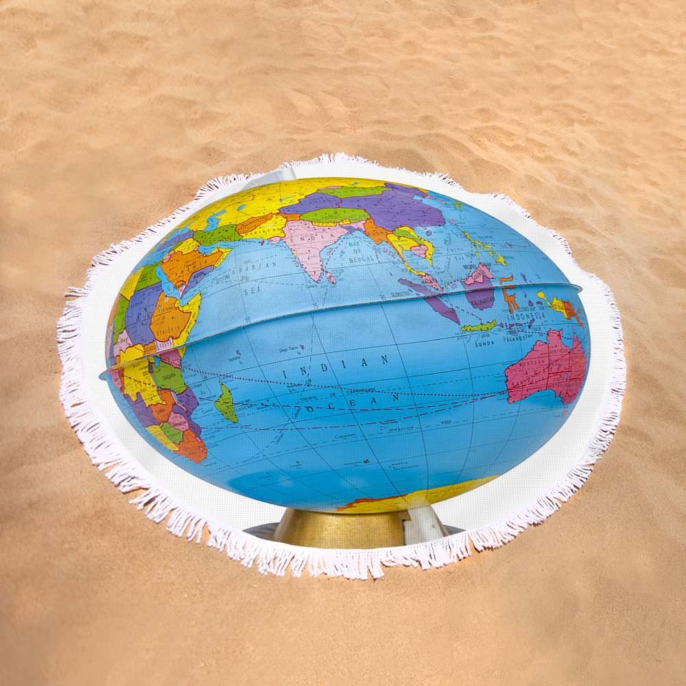 Old rotating world map globe round beach towel for sale by donald sand view gumiabroncs Image collections