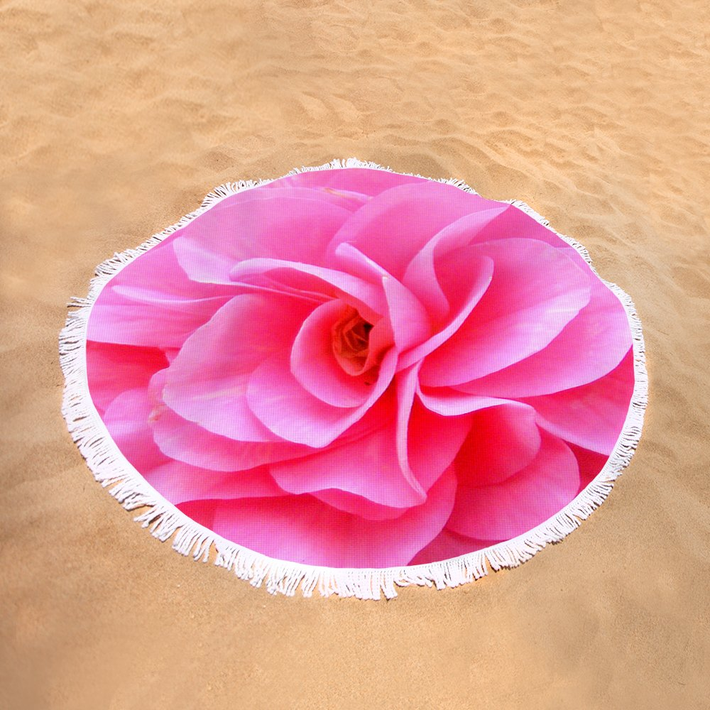 Pretty Pink Flower Blossom Upclose Round Beach Towel For Sale By