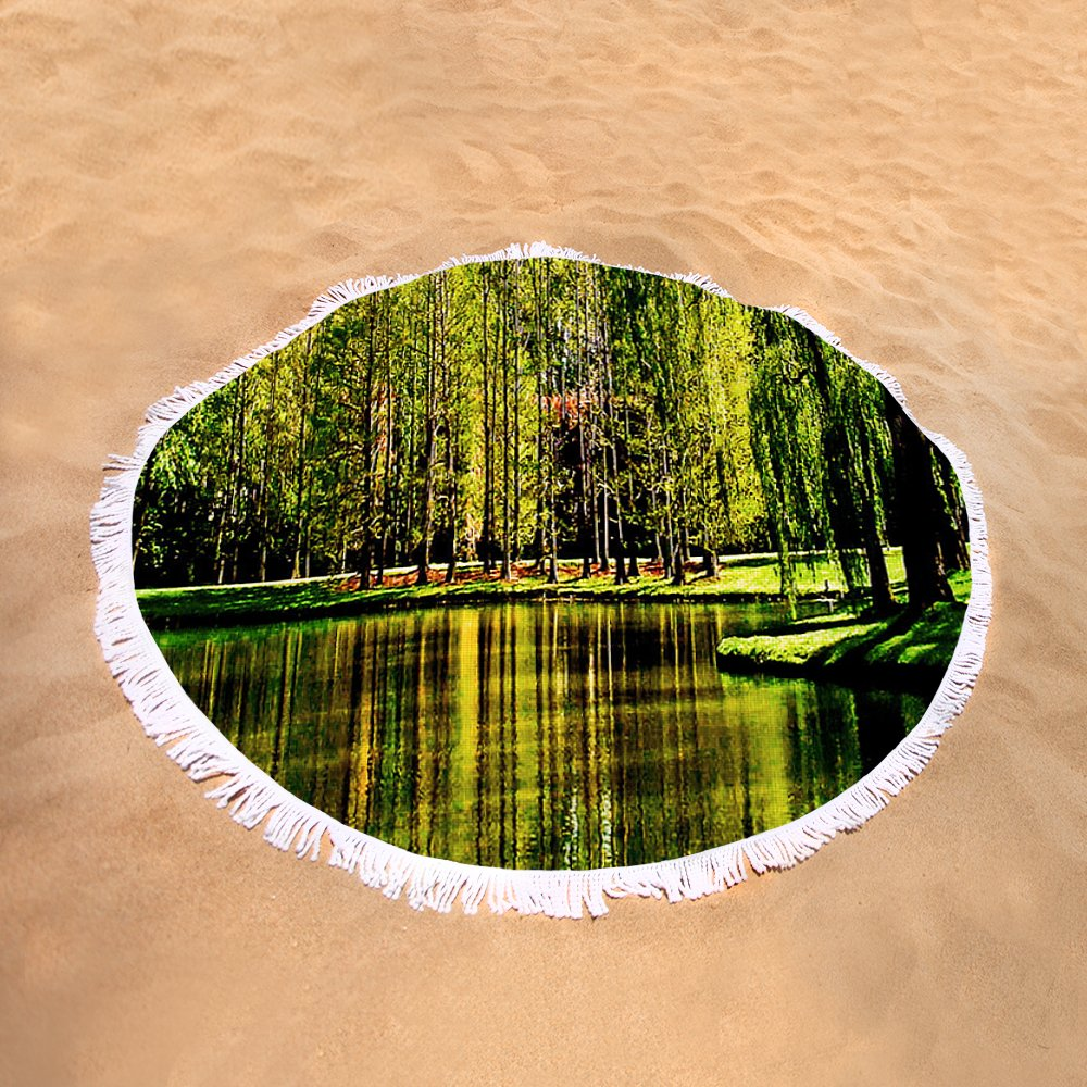 Weeping Willow Tree On Lakeside Round Beach Towel for Sale by Carol ...