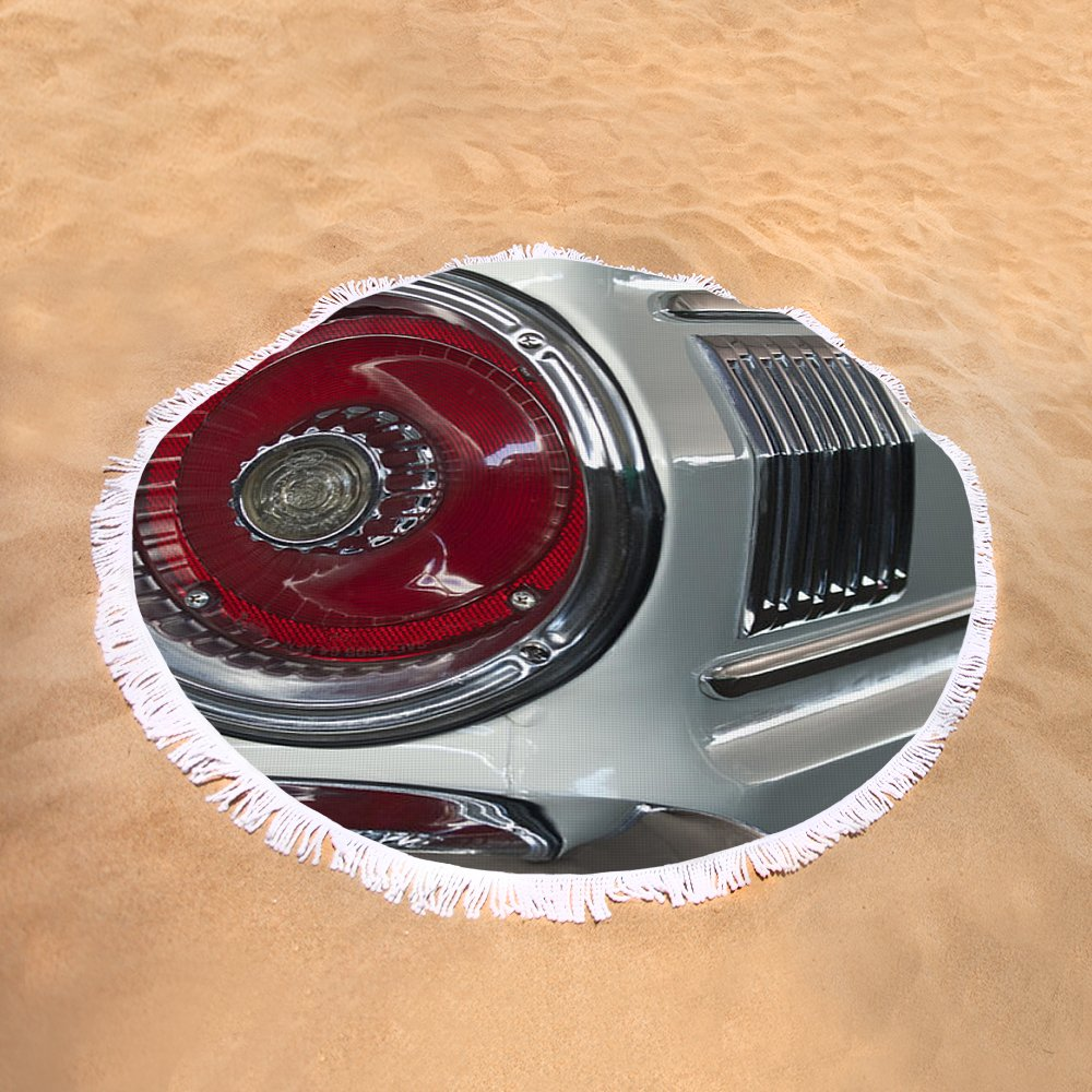 1964 Ford Falcon Sprint Convertible Taillight Round Beach Towel For Thunderbird Tail Light Sand View