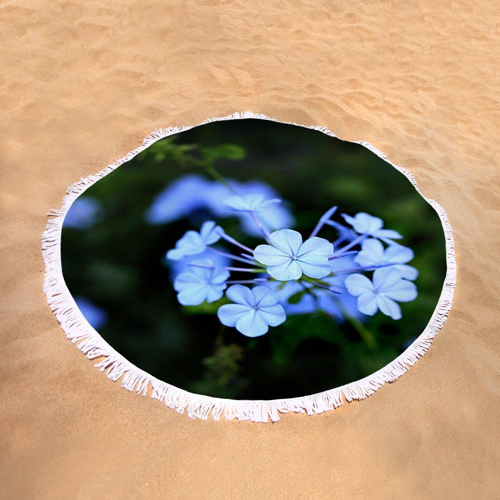 Little Blue Hawaiian Flower Round Beach Towel For Sale By Marilyn Hunt