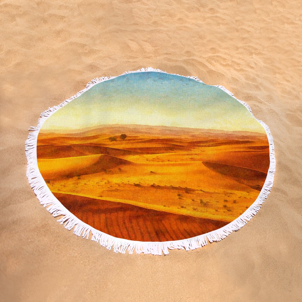 African Sand Dune Art Painting - Sand Dunes Round Beach Towel for ...