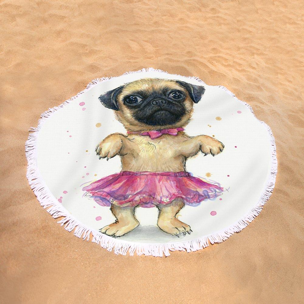 Cute Pug Puppy Round Beach Towel for Sale by Olga Shvartsur