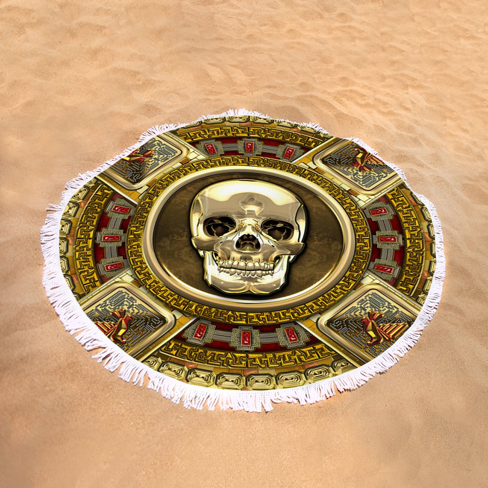 Golden mictlantecuhtli aztec god of death round beach towel for sand view biocorpaavc Images